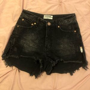 One Teaspoon Black High Waisted Denim Shorts